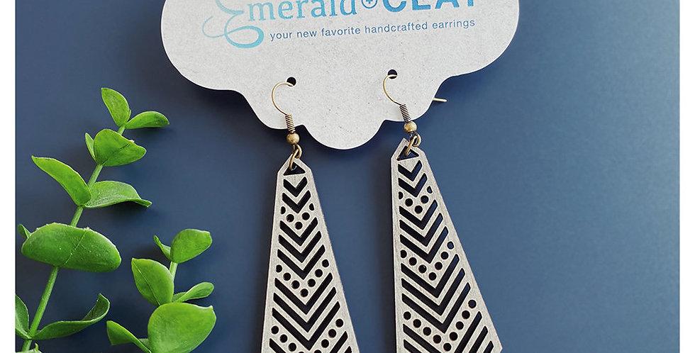 Chevron Tie Wood Earrings - Whitewash