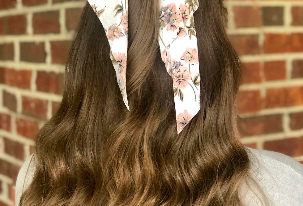 Pink and White Floral Hair Scarf