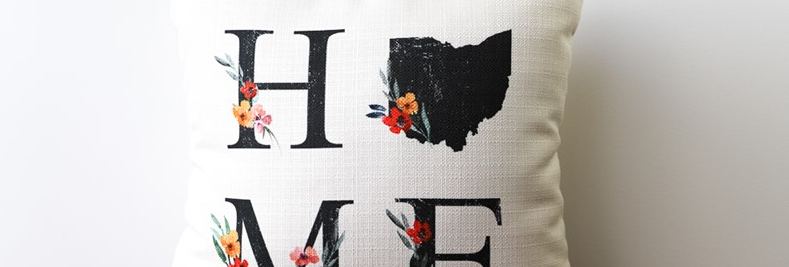 Home State Floral Letters Pillow