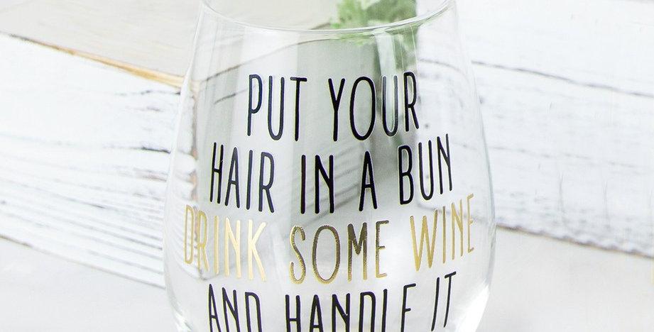 Stemless Wine Glass - Hair in a Bun