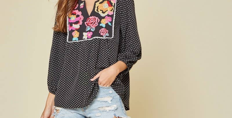 Polka Dot Embroidery Top