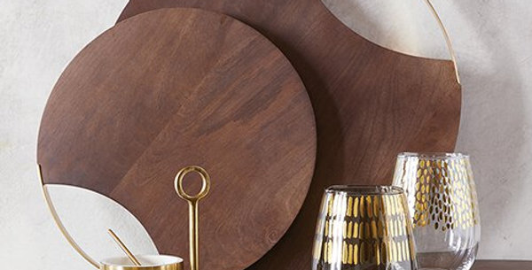 "Round Wood and Brass Serving Board (16"")"
