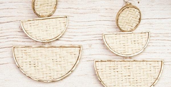 Rattan Tiered Earrings (Ivory)