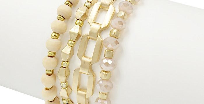 Gold, Natural Crystal and Wood Stretch Bracelet Set