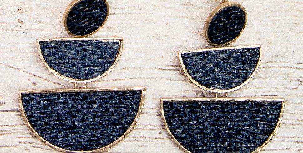 Rattan Tiered Earrings (Navy)