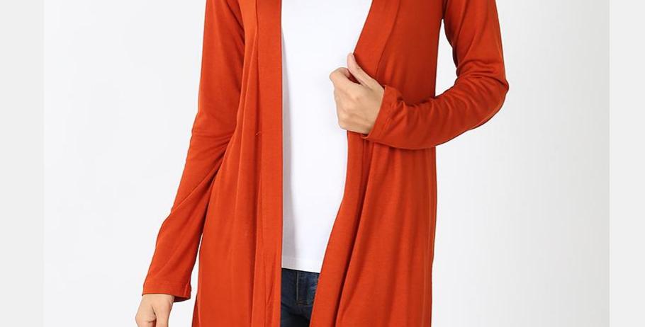 Drapey Long Sleeve Cardigan (Copper)