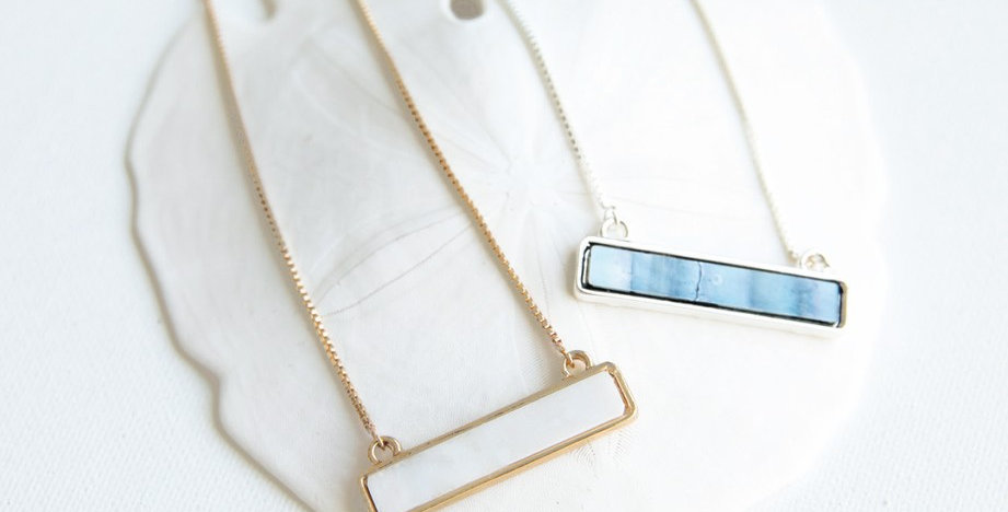 Taos Bar Necklace (White)