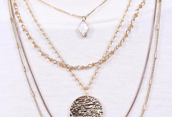 Multi Layer Necklace With Bead And Coin Accents