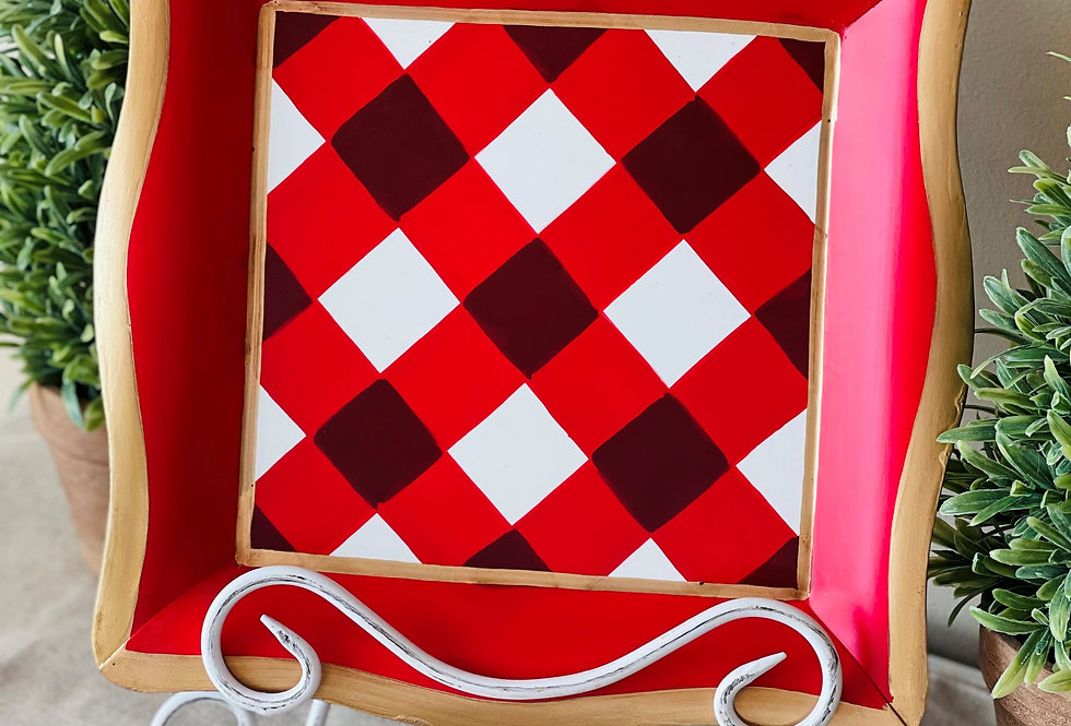 Red Buffalo Plaid Social Tray