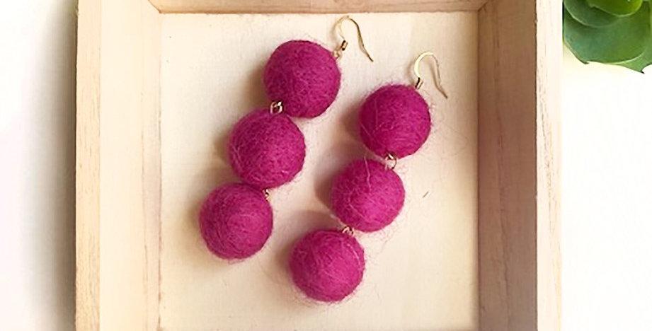 Pom Pom Delight Earrings (Hot Pink)