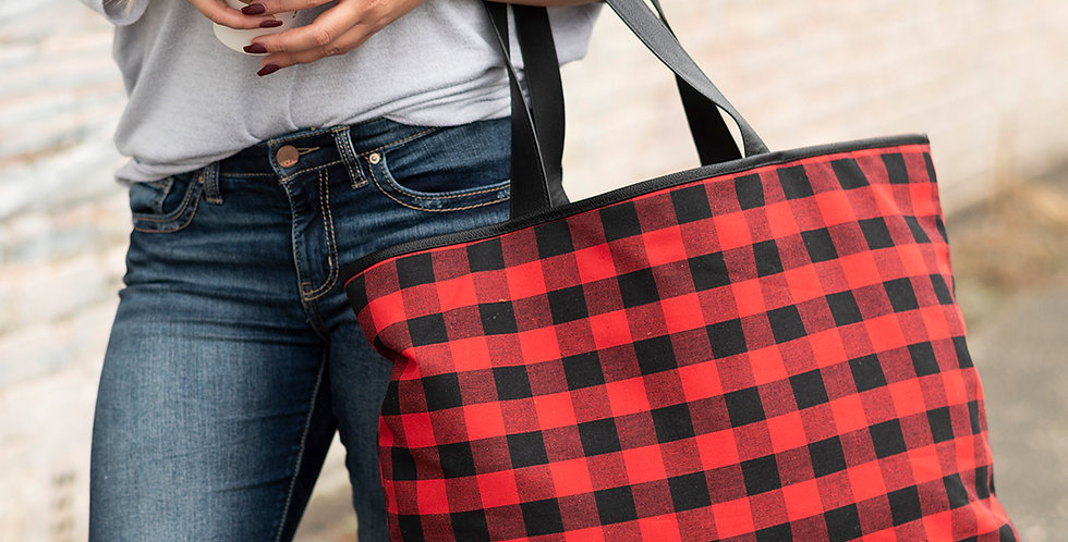 Ally Tote (Red Buffalo Plaid)