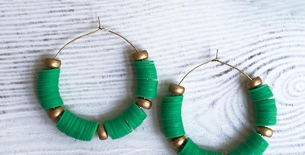 Victoria Hoop Earrings (Green)
