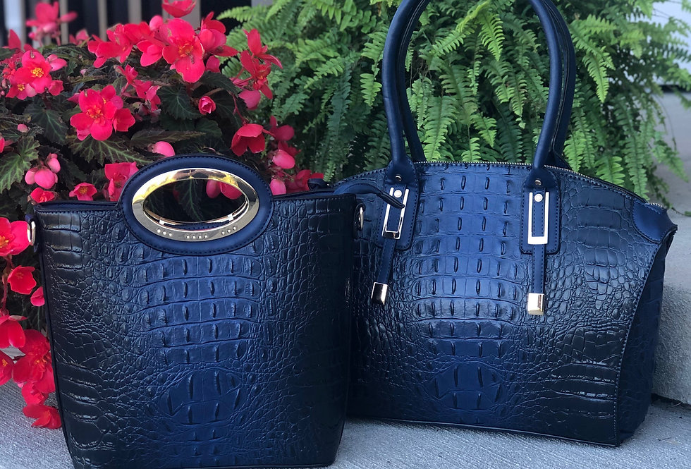 2 for 1 Ostrich-Croc Bag Set (Navy)