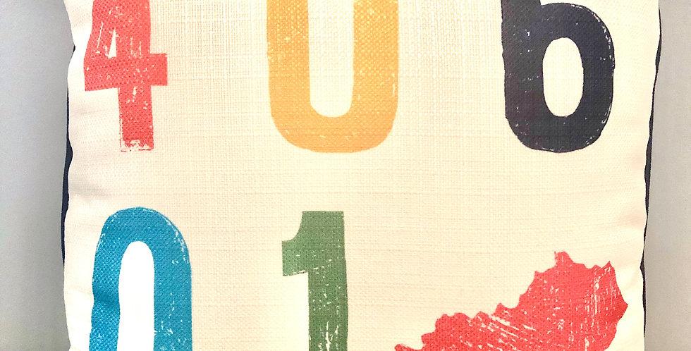 Multicolor Zip Code Square Pillow