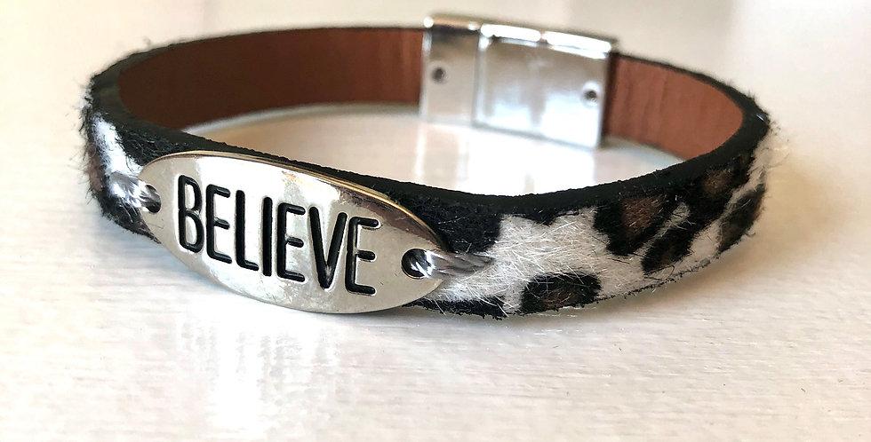 Believe Bracelet (White Cheetah)