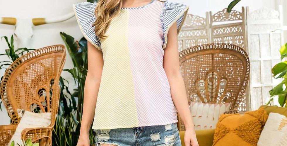 Color Block Flutter Sleeve Top