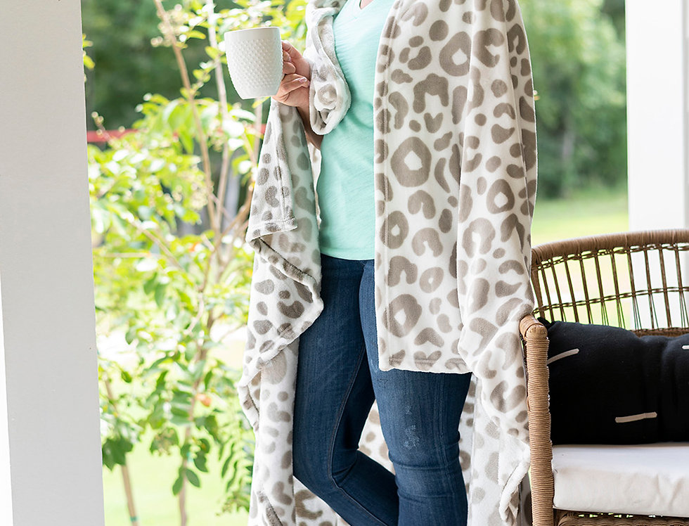 Natural Leopard Plush Blanket