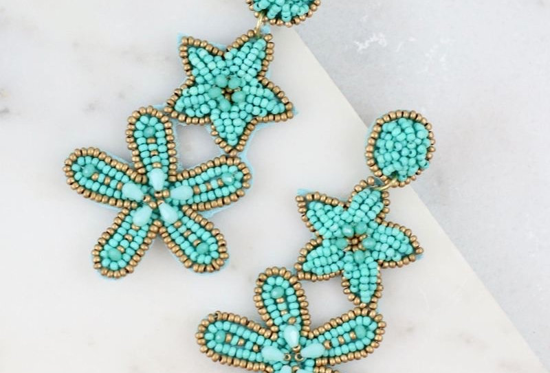 Starfish Bead Earrings (Aqua)