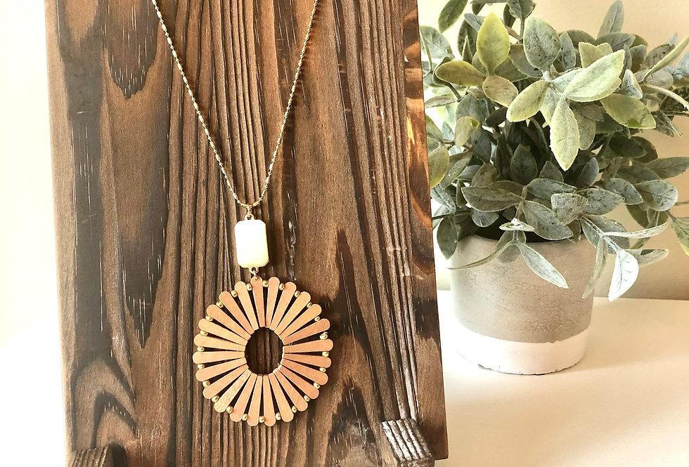 Wood Pinwheel Necklace