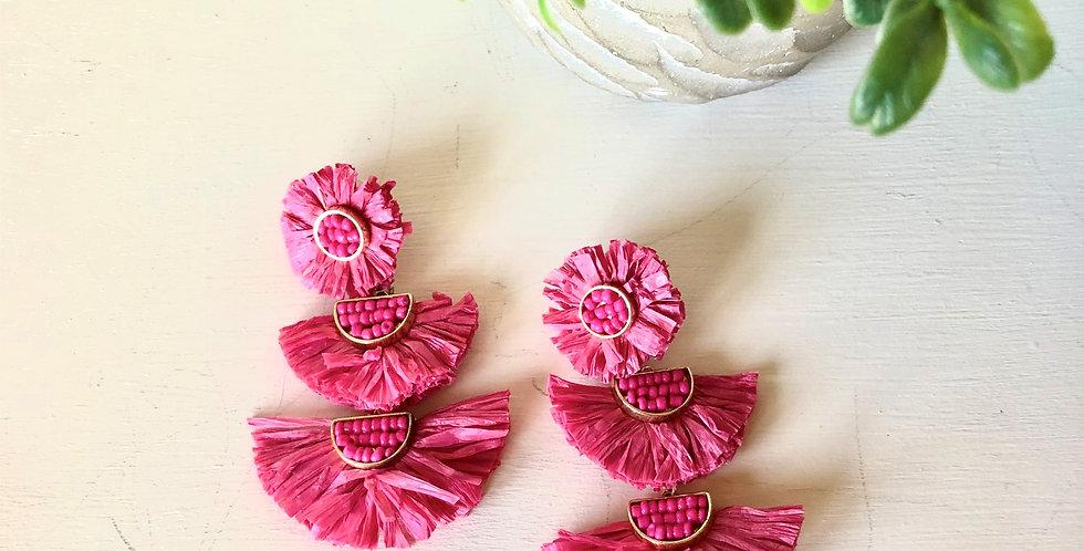 Summer Fun Raffia Earrings (Hot Pink)