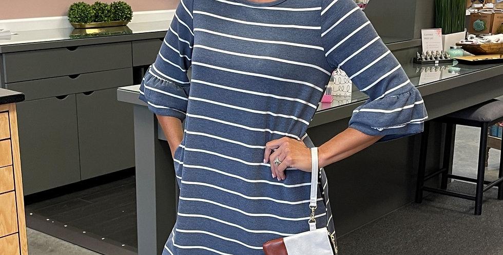 Stripe Ruffle Sleeve Dress - Blue