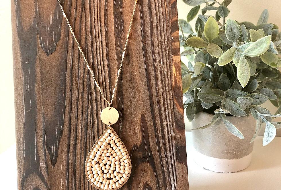 Teardrop Wood Bead Necklace