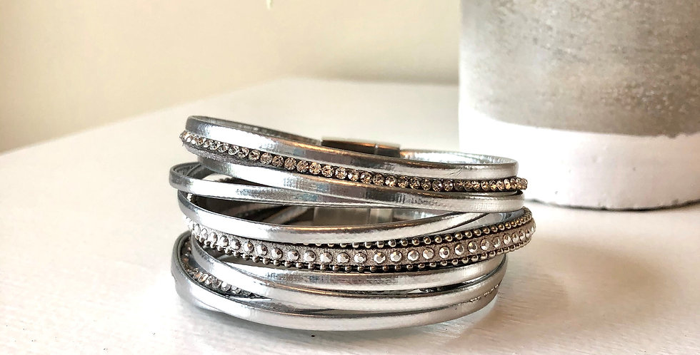 Multi Strand Clasp Bracelet (Silver)