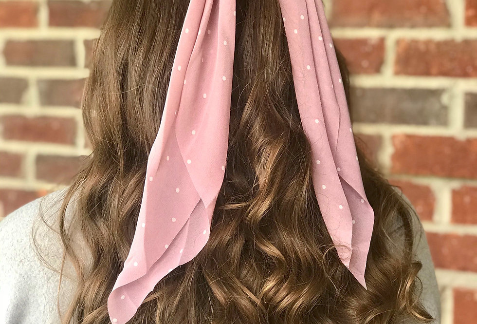 Polka Dot Hair Scarf (Pink)