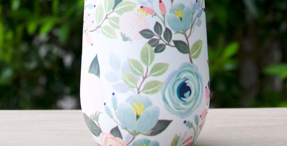 Stainless Drink Tumbler - Peach Floral