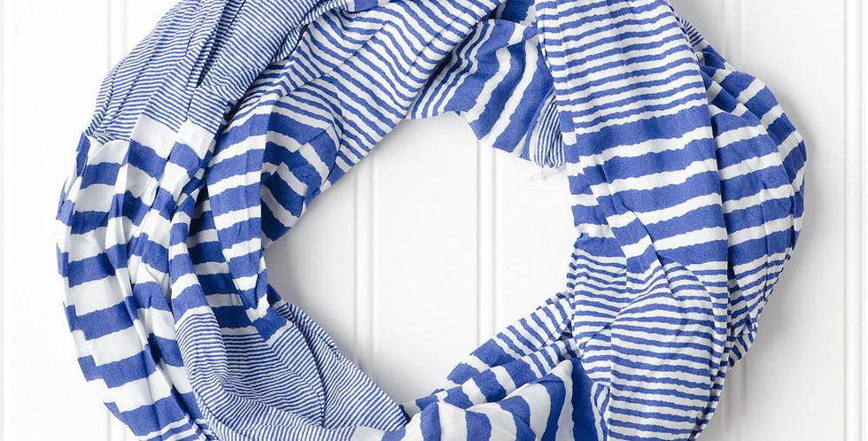 Striped Infinity Scarf (Royal)