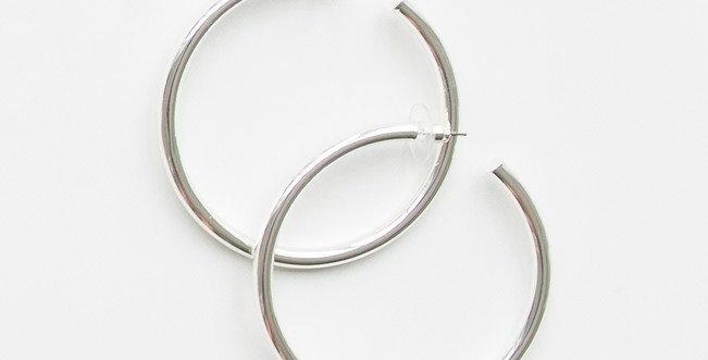 Salem Hoop Earrings - Shiny Silver