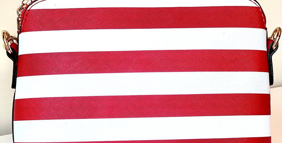 Stripe Crossbody Purse (Red)