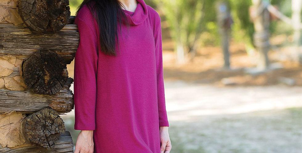 Cowl Neck Dress (Cranberry)