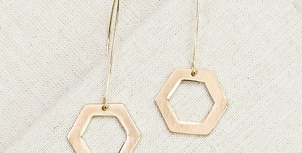 Moraine Hexagon Earrings (Gold)