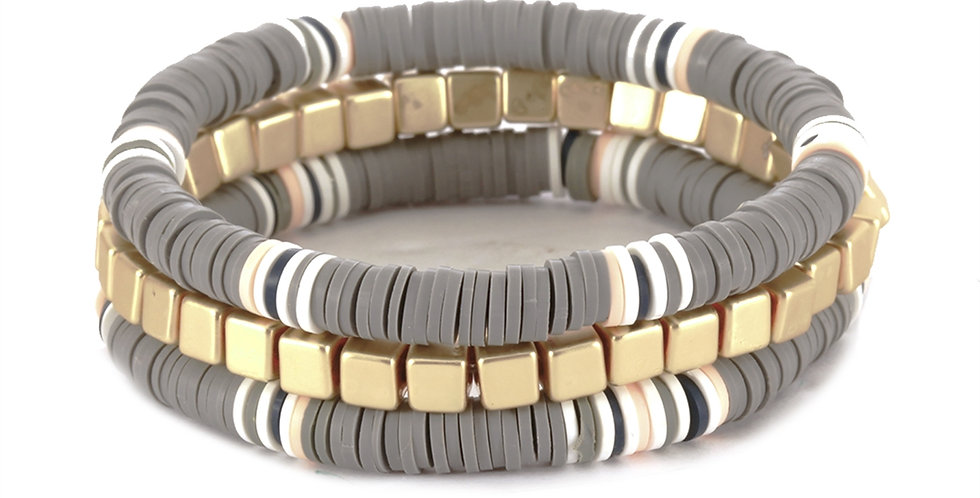 Gray and Gold Disc Stretch Bracelet Set