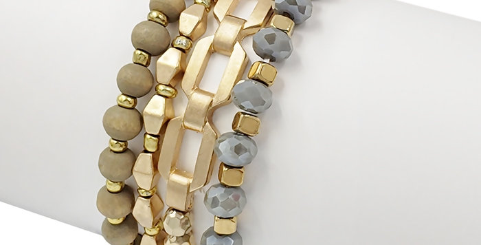 Gold, Gray Crystal and Wood Stretch Bracelet Set