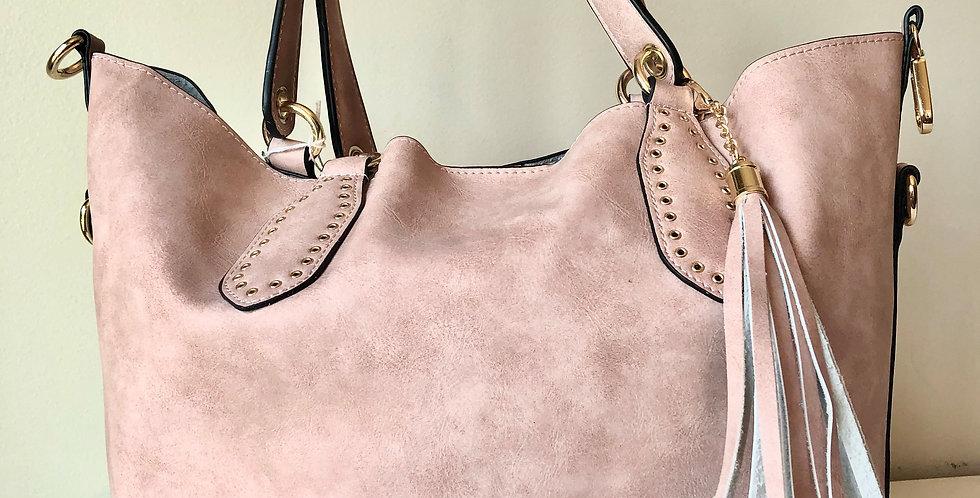 2-in-1 Hobo Bag with Tassel (Pink)