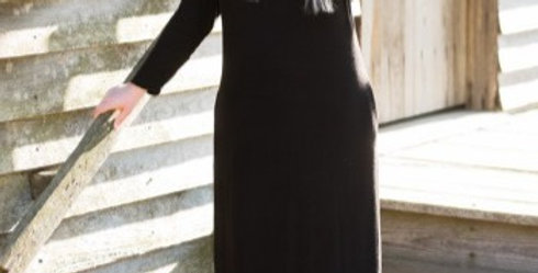 Cowl Neck Maxi Dress (Black)