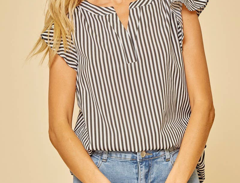 Stripe Ruffle Sleeve Blouse