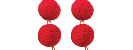 Pom Pom Delight Earrings (Red)