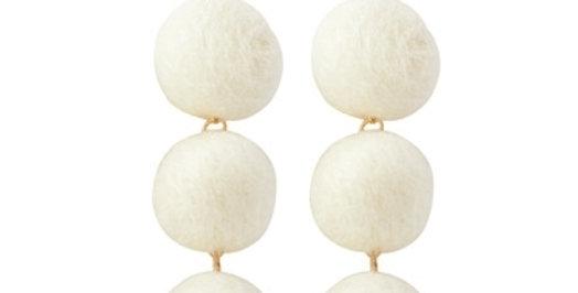 Pom Pom Delight Earrings (White)