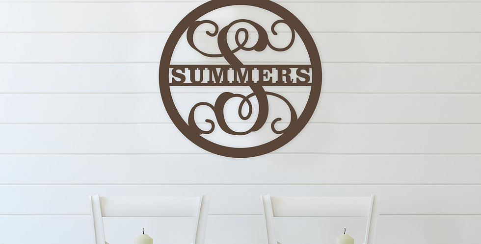 Family Name Wood Monogram