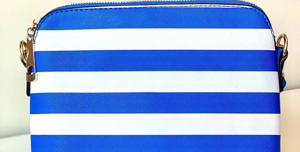 Stripe Crossbody Purse (Royal)