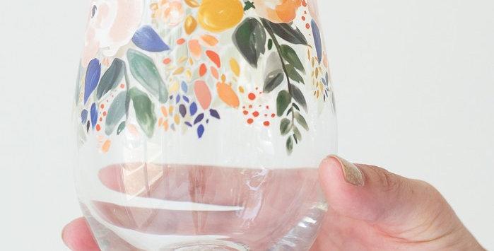 Stemless Wine Glass - Enchanted Garden