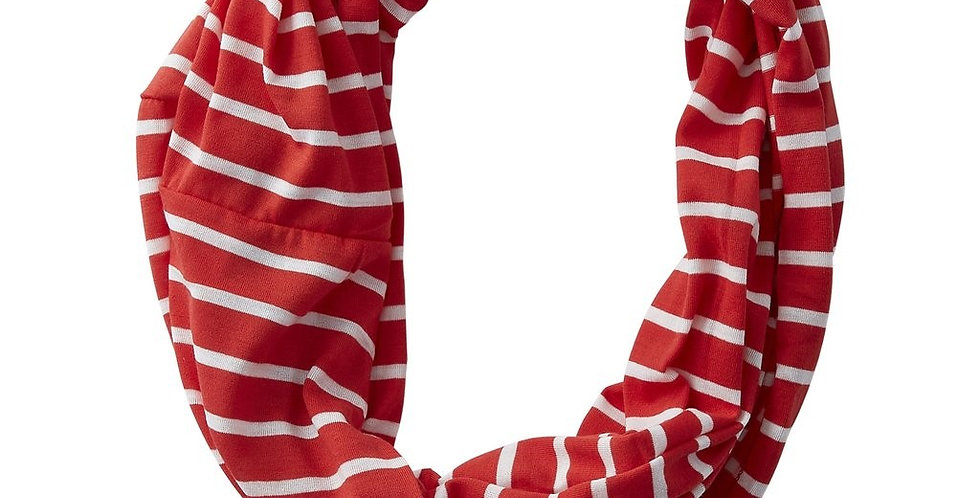 Striped Infinity Scarf (Red)
