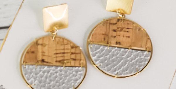 Sausalito Cork Earrings (Silver)