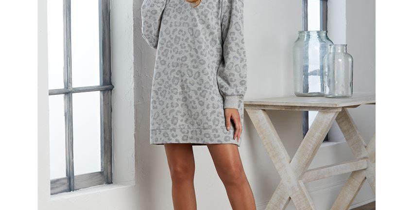 Sweatshirt Dress - Leopard