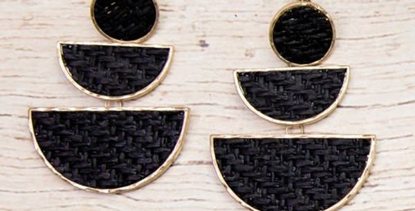 Rattan Tiered Earrings (Black)