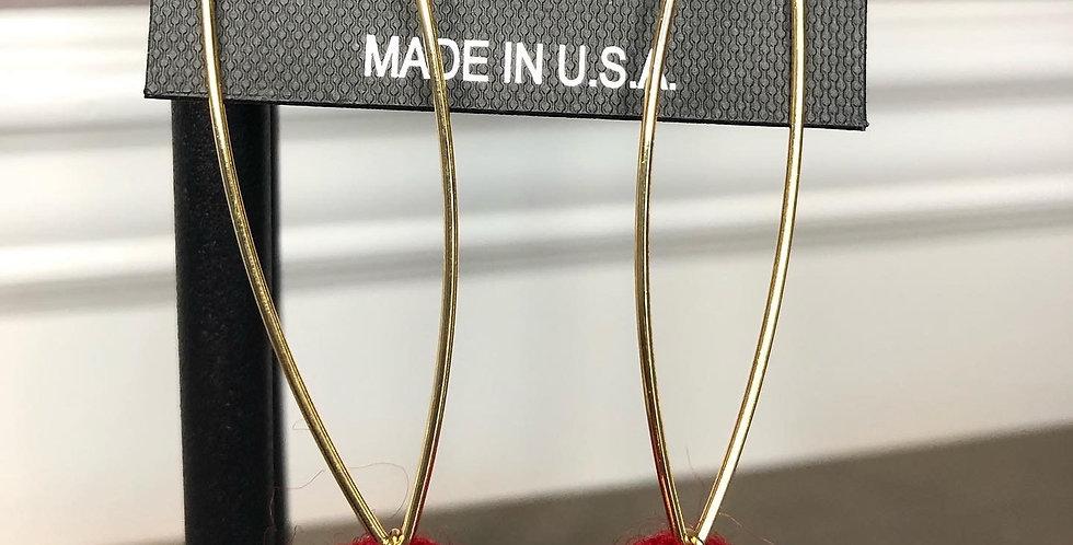 Single Pom Pom Earrings (Red)