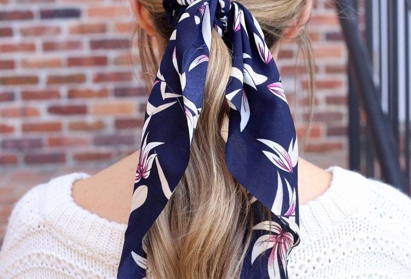 Hair Scarf - Navy Floral